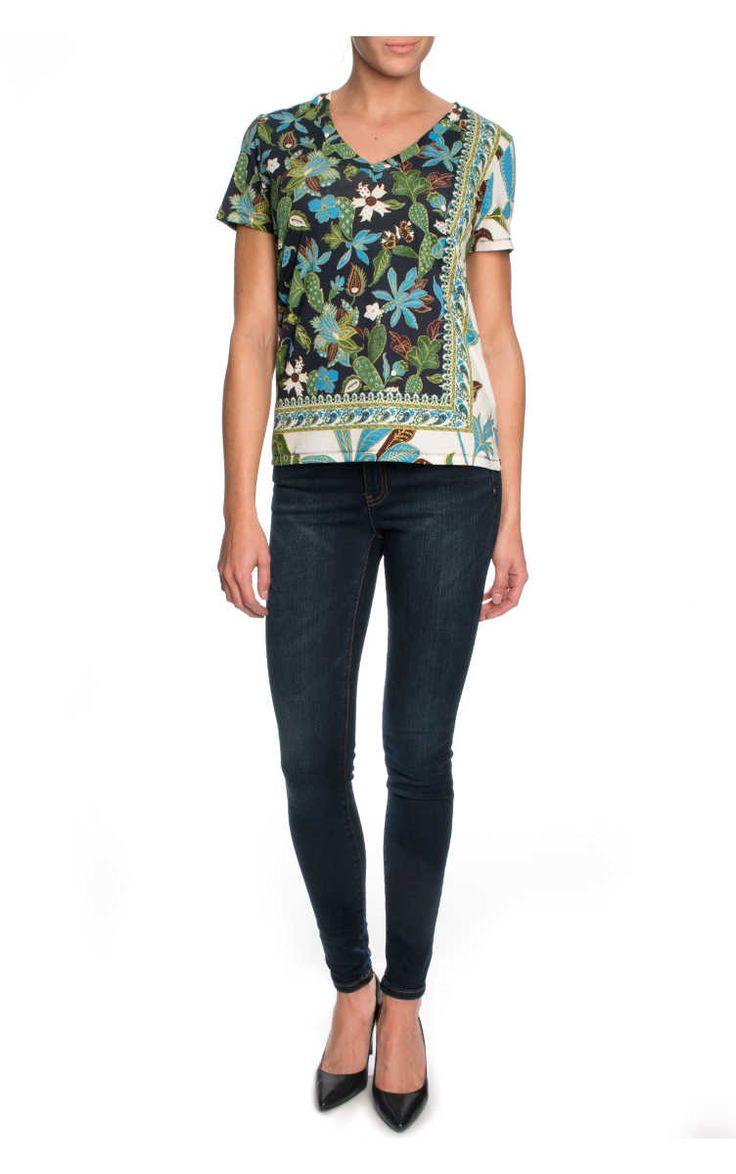 Topp Printed Cotton Jersey V-Neck GARDEN WISTERIA - Tory Burch - Designers - Raglady