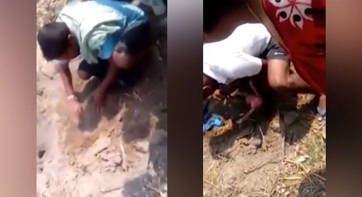 #DÜNYA Vahşet!.. Canlı canlı toprağa gömdüler: Hindistan'da canlı canlı toprağa gömülen yeni doğmuş bebek çevredekilerin tüyler ürperten…