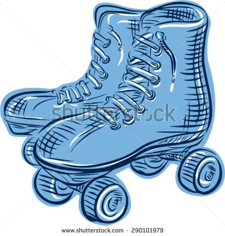 Etching engraving handmade style illustration of a pair of vintage used roller skates viewed from side set on isolated white background.