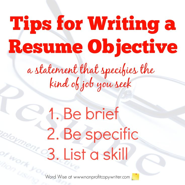 Tips for writing resume objective