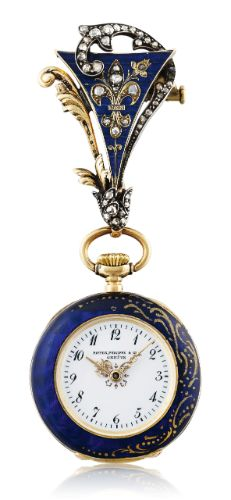 Patek Philippe A YELLOW GOLD, DIAMOND-SET AND ENAMEL OPEN-FACED KEYLESS LEVER PENDANT WATCH WITH BROOCH MVT 105459 CASE 2180660 MADE IN 1896 ||| sotheby's ge1704lot9g873en