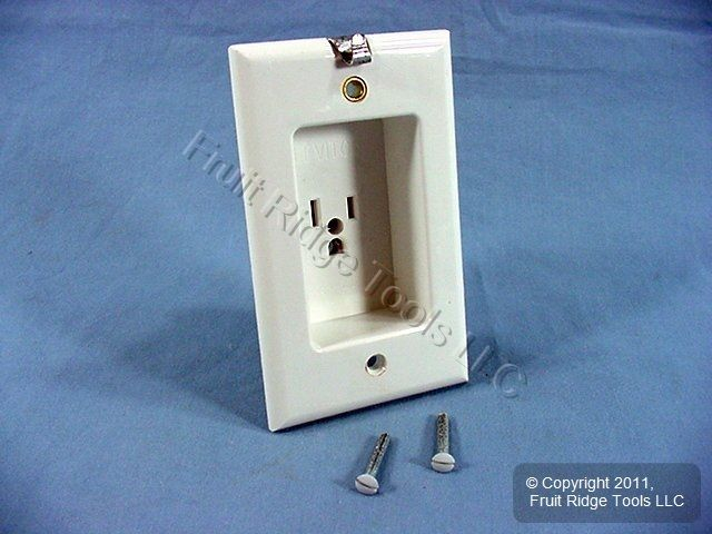 New Leviton White Clock Hanger Outlet Receptacle 15A NEMA 5-15R 5-15 688-W-103 - Fruit Ridge Tools, LLC