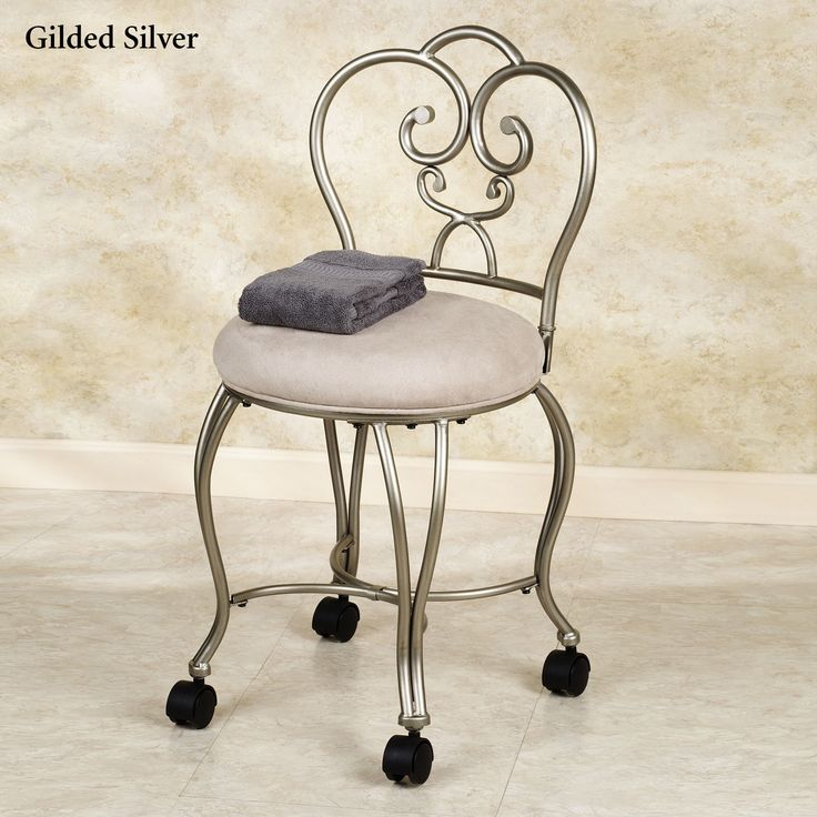 Add wheels to vanity chair for the home pinterest - Bathroom vanity chair with casters ...
