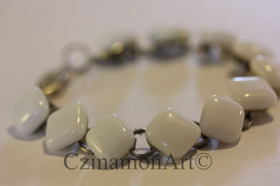 White fused glass bracelet by CzinamonArt on Etsy, €23.00