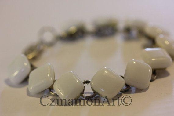 White fused glass bracelet by CzinamonArt on Etsy, €23.00