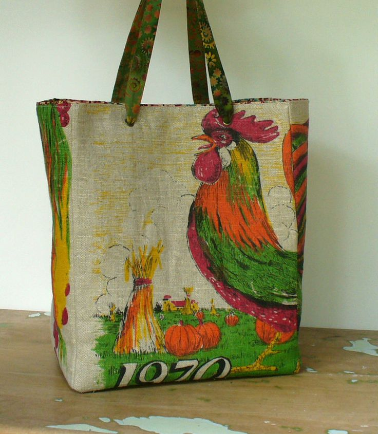 Small Tote, Country Chic, Upcycled Vintage Tea Towel, One of a Kind. $28.00, via Etsy.