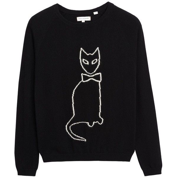 Black Cat Outline Cashmere Sweater ❤ liked on Polyvore featuring tops, sweaters, owl top, owl sweaters, cashmere sweater, pure cashmere sweaters and cashmere top
