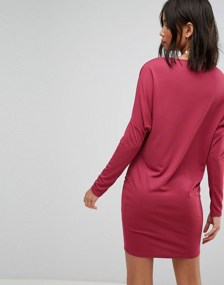 ASOS Crepe Column Dress with Drape Shoulder & Batwing Sleeves - Red