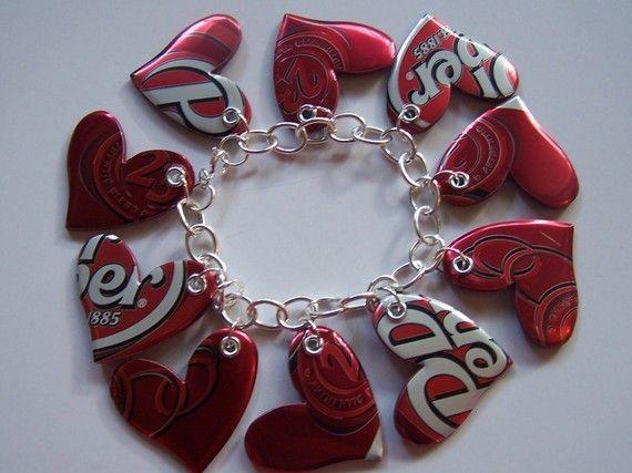 DIY soda can heart bracelet