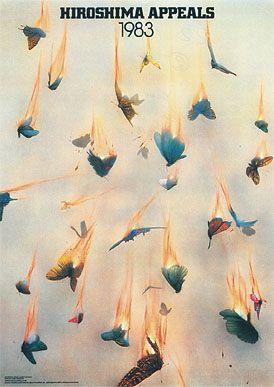 """Yusaku Kamekura (1915–1997)  Hiroshima Appeals, 1983  Das erste Plakat einer jährlich fortgeführten Serie mit dem Titel """"Hiroshima Appeals""""; initiiert durch die JAGDA (Japan Graphic Designers Association) für Hiroshima International Cultural Foundation."""