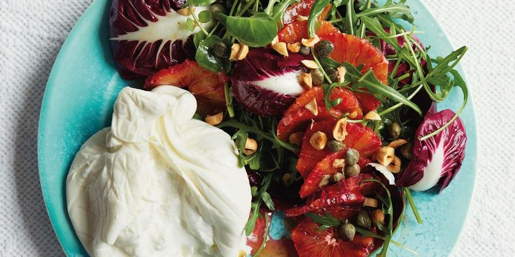 Francesco Mazzei serves a vibrant blood orange salad with burrata, a soft Italian cheese made from mozzarella and cream, in this delicious salad recipe.