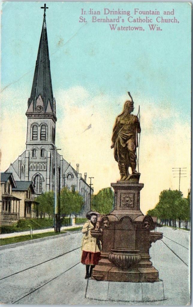 1922 Watertown Wi Postcard St Bernard's Catholic Church Indian Water Fountain | eBay