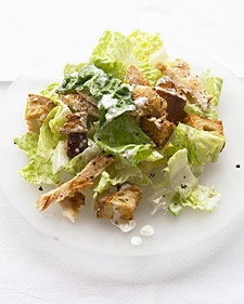 "Chicken Caesar Salad from ""Martha""  ...make sure you watch the video (on the left of the ingredients).  You can use bacon instead of anchovies.  LOOKS YUMMY!!"