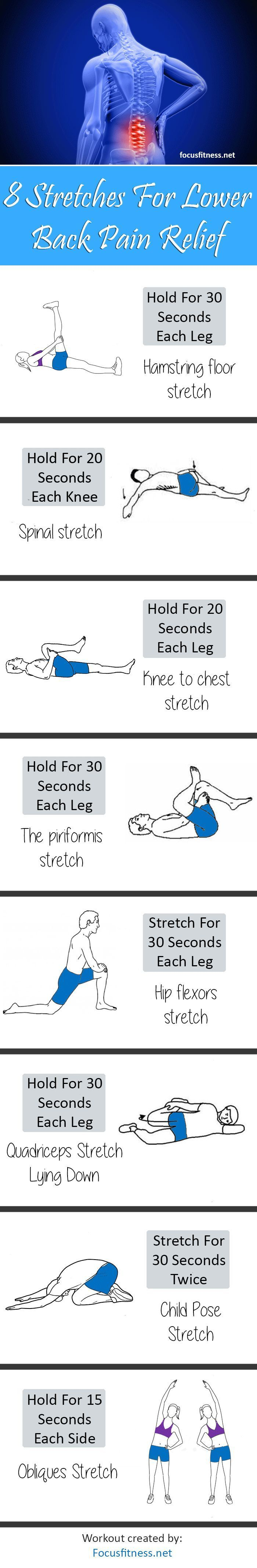 8 Stretch Exercises For Lower Back Pain Relief - http://focusfitness.net/8-stretch-exercises-lower-back-pain-relief/