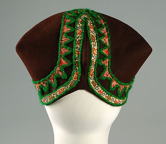 Hat (back view) | Sally Victor (American, 1905-1977) | Date: 1943 | Materials: wool, cotton | The Metropolitan Museum of Art, New York