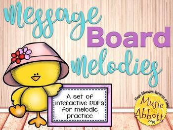 This is a comprehensive set of interactive PDFs for melodic reading and assessment. They can be played as a whole group, in centers or even on the iPad via Adobe. Additionally, extension ideas and worksheets are included to get your students writing, transposing and creating melodic pattern.