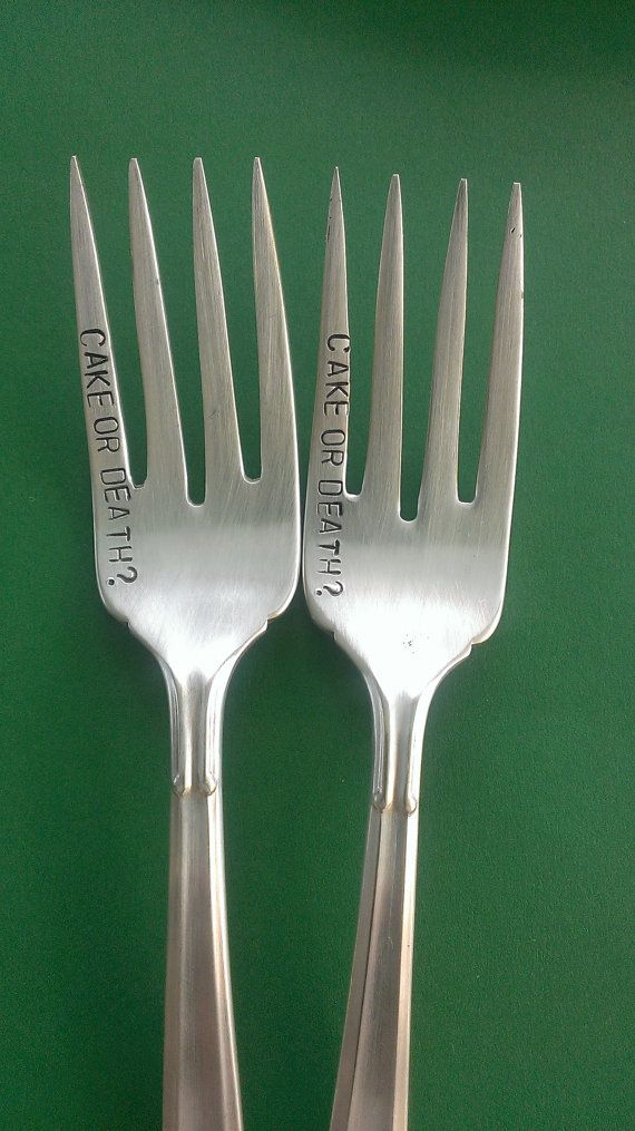 Cake or Death Stamped Silverware Forks Eddie Izzard Vintage Silverplated Cake fork with funny saying on Etsy, $18.00