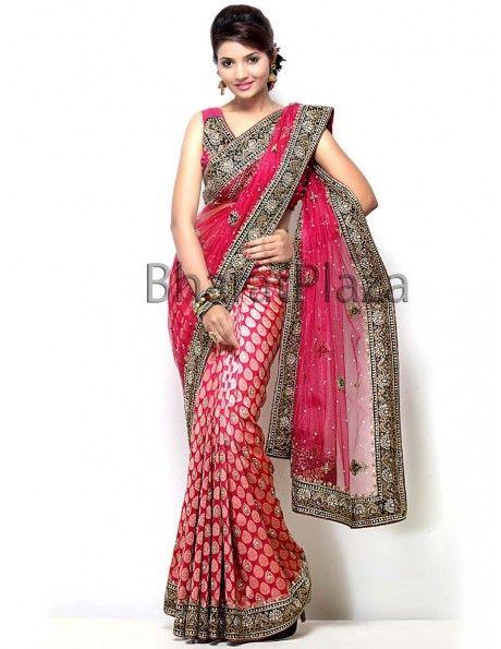 Buy Dusty Pink Half Pattern Saree online. http://www.bharatplaza.com/womens-wear/sarees.html