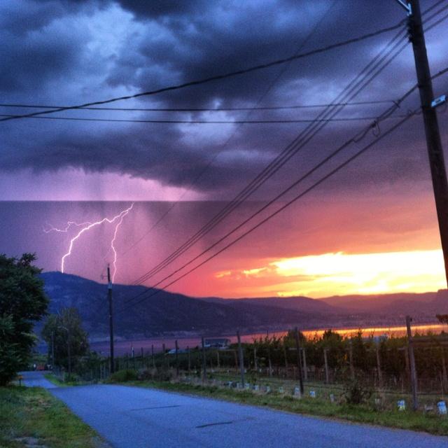 Lightening over Okanagan Lake Penticton BC ♥ Loved and pinned by www.thatguyvanlines.com