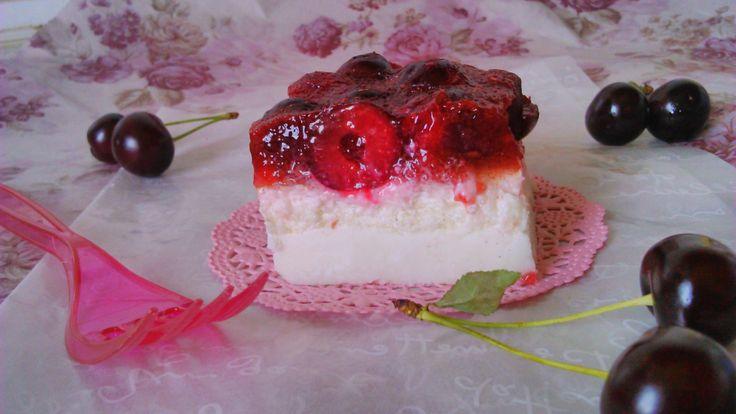 Joghurtos meggyes süti sütés nélkül (diétás, gluténmentes recept)