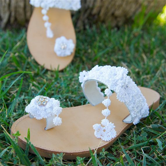 UNIQUE OOAK Bridal Sandals Wedding Crochet Sandals Lace