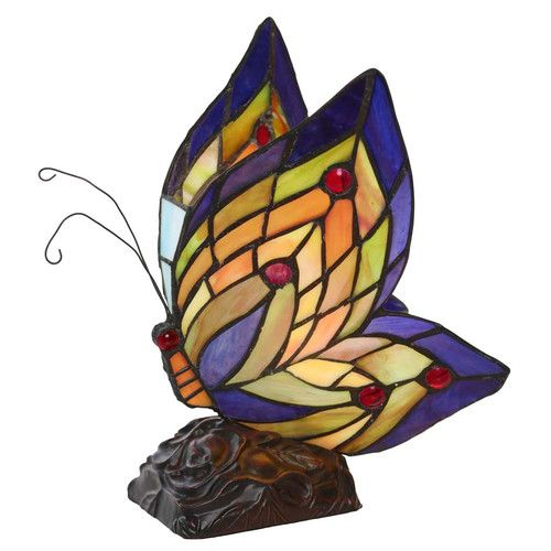 "Found it at Wayfair - Butterfly Wings Tiffany Style Stained Glass 9.5"" Table Lamp"
