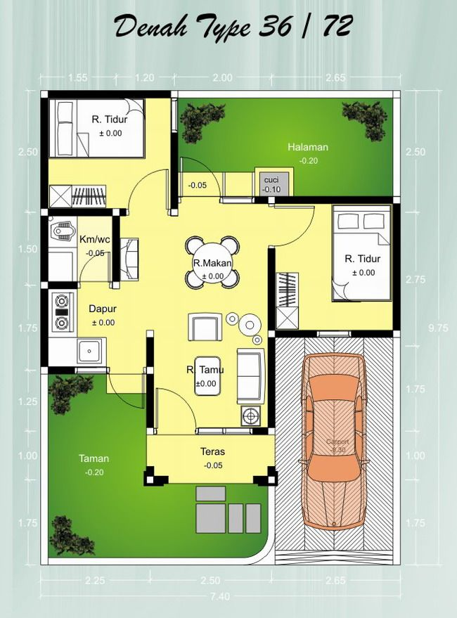 Contoh Denah Rumah Minimalis Type 36 | sketsa rumah | Pinterest