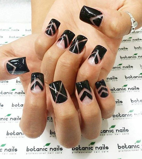 V-line ensemble. A rather catchy looking nail art design that uses clear coat and black polish and you're done! Simply choose designs that you can easily recreate on your own.