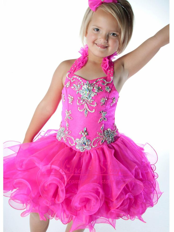Lovely Mini Toddler Girl's Pageant Dresses with Halter Beaded Short Tiers Prom Ball Gown Organza Vintage Flower Girl Dress for Kids 2014 from Olisha,$74.27 | DHgate.com