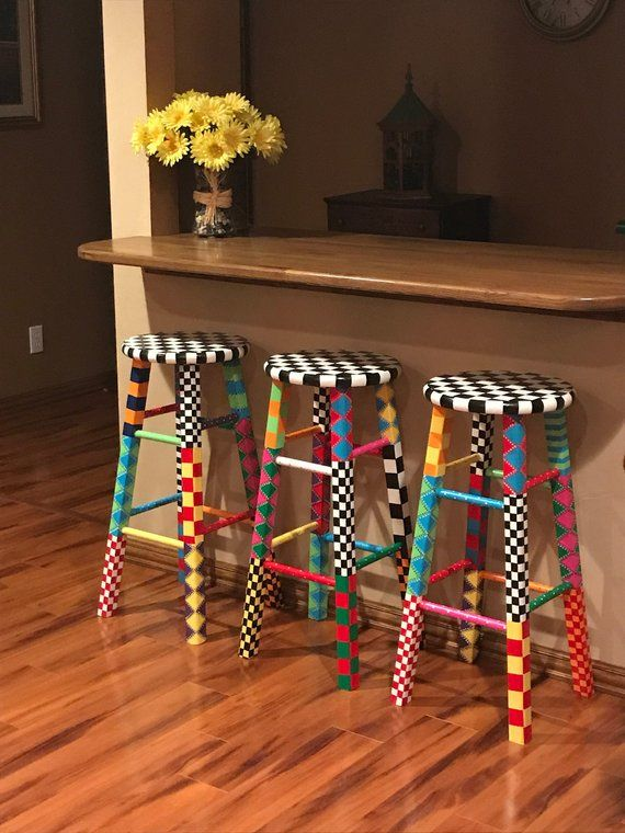 Hand Painted Wood Bar Stool Set Fun Whimsical And Eclectic