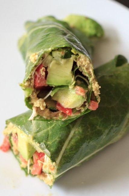 Vegan and gluten free wrap made with collard greens, veggies and sunflower hummus.