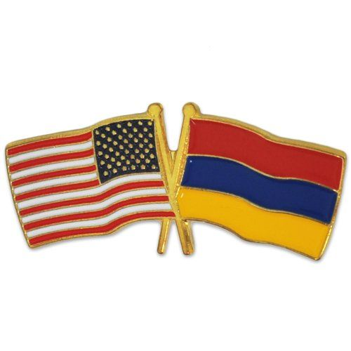 USA and Armenia Crossed Friendship Flag Lapel Pin. Available as a single item or bulk packed. Select your quantity above. 25 Pack of Lapel Pins. Durable and long lasting pin die struck from jewelers metal, with hand filled bold enamel colors. Size: 1 1/8'' x 1/2''. Each pin comes with a clutch back and is individually poly bagged.
