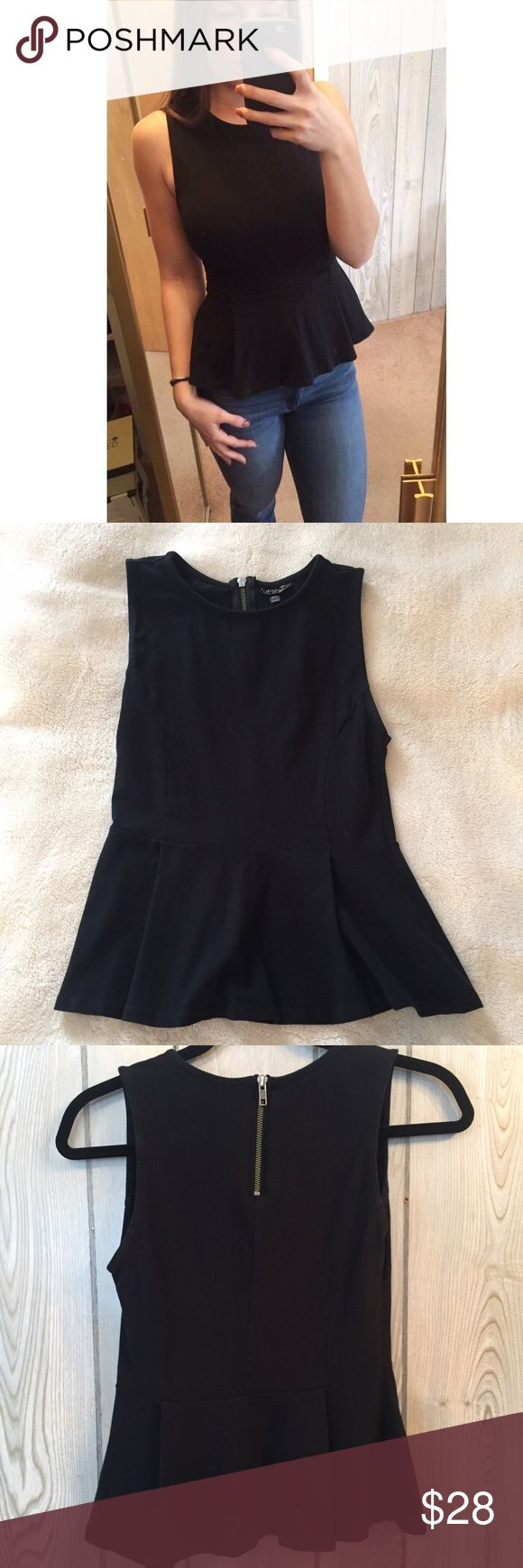 Topshop Black Peplum Top Only worn twice. All black, form fitting through the top. Half zipper to take on and off down the back. Size 6. Topshop Tops Tank Tops