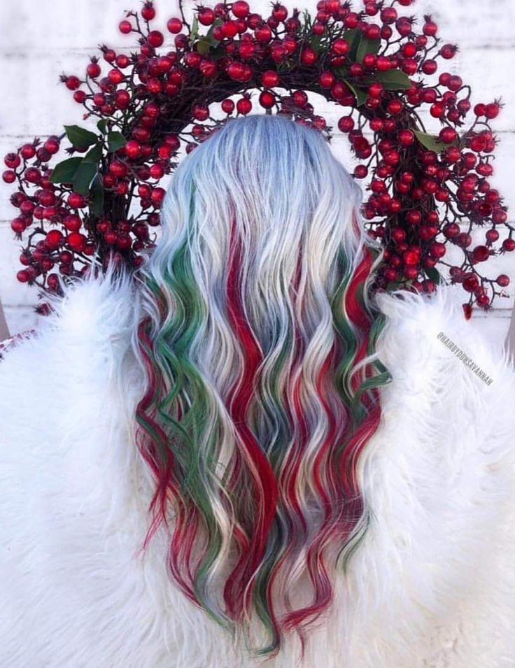 In Love! Christmas hairstyles, Hair color, Cool hair color