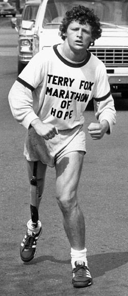 """""""I bet some of you feel sorry for me. Well don't. Having an artificial leg has its advantages. I've broken my right knee many times and it doesn't hurt a bit."""" • Terry Fox. His story is so inspirational"""