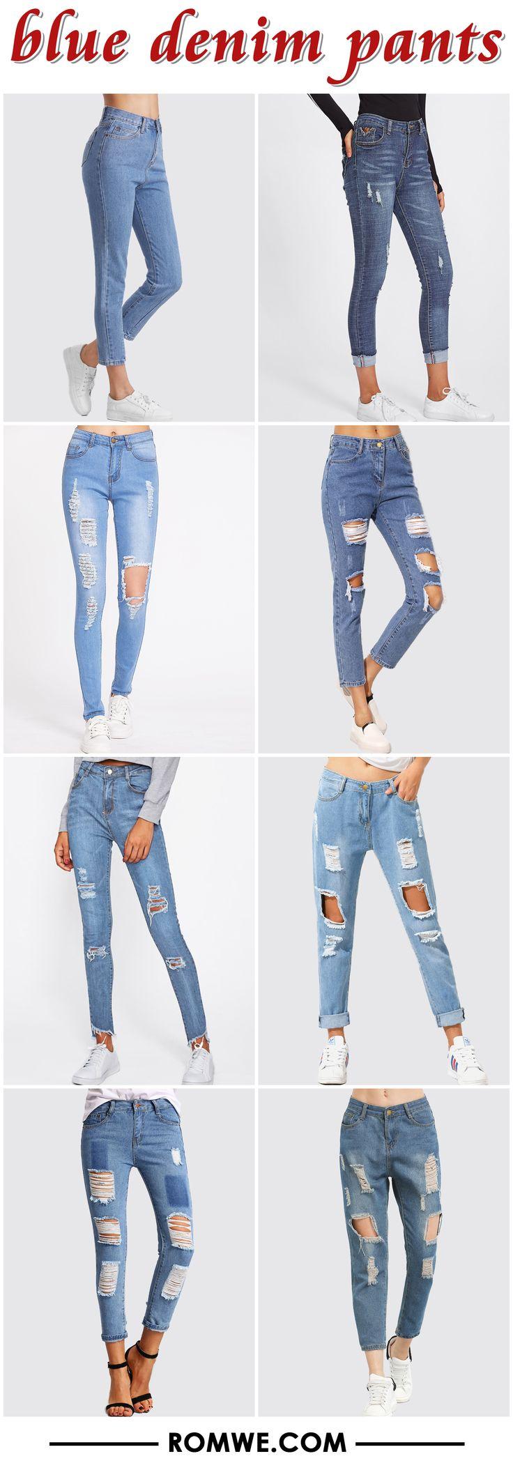 blue denim pants from romwe.com