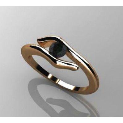 Μονόπετρο 18Κ ρόζ χρυσό δεμένο με μαύρο Διαμάντι ΔΑ022