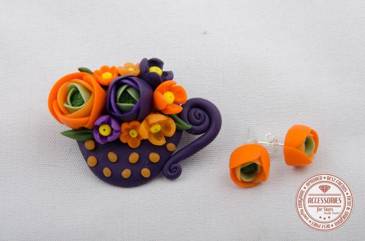 http://accessoriesforstars.blogspot.ro/2015/01/set-dark-purple-cup-of-tea.html #cupoftea #cup #tea #purple #orange #flowers #ranunculus #brooches #earrings #sets #accessoriesforstars