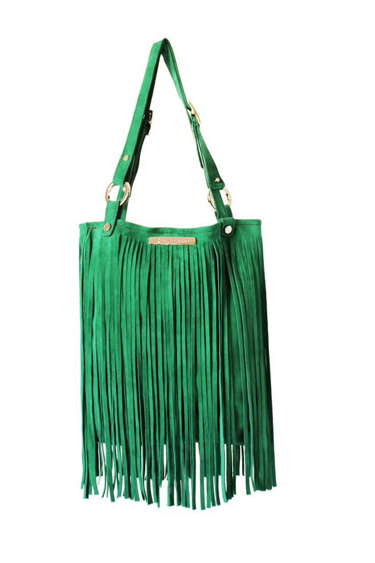 Green italian suede bag. By Paulina Botero