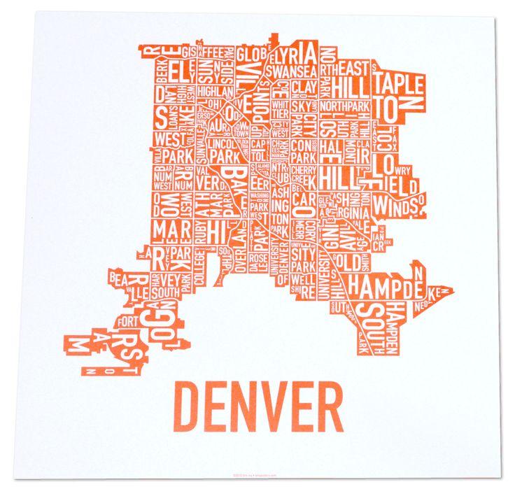 Denver Colorado type neighborhood map print by thesunnysideupshop - fresh e blueprint denver