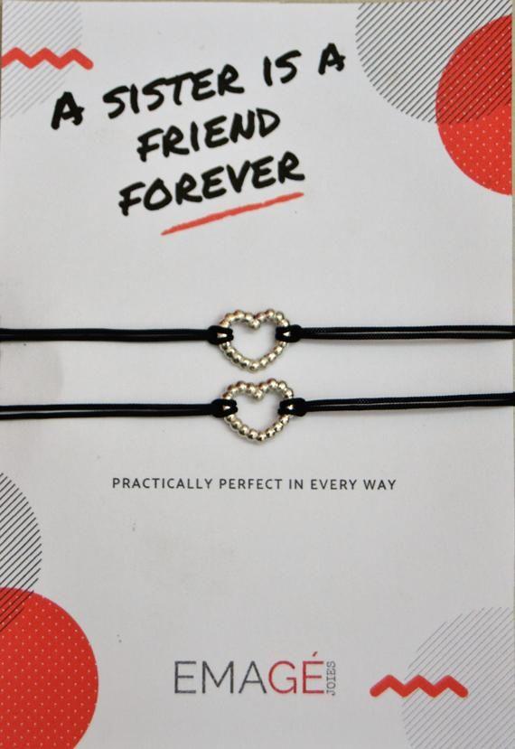 5720c656ce42 Pulseras para hermanas Pack de pulseras regalo hermana Regalo amiga Pulsera  corazón Brazaletes finos regalo Pulseras con targeta para regalo LAs  personas ...