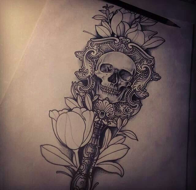 Skull flower tattoo tattoo love pinterest beautiful for Skull love tattoos