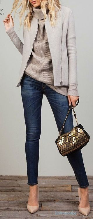 totes handbags Grey zip closure jacket looks modern  Try it on with knitted turtleneck and skinnies
