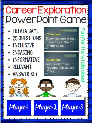 Career Exploration Trivia Game Resume Cover Letters