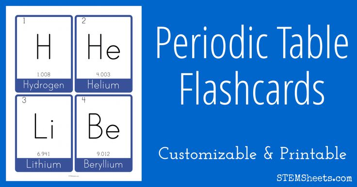 The Elements and their Atomic Mass Flash Cards - new periodic table jefferson lab