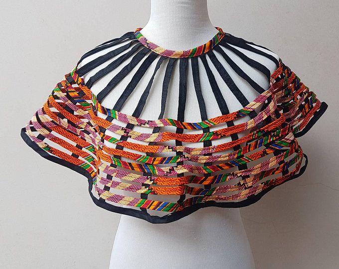 collier de déclaration africaine Collier / Collier / poncho / cape / collier Cap / ankara bijoux, africain, wax print