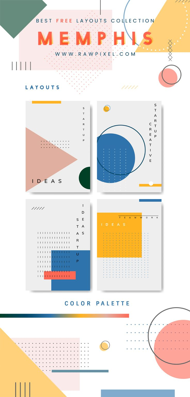 Download this cool & free set of Memphis design vector layouts, templates, posters, banners and many more mockups, vectors, illustrations, and stock photos at rawpixel.com
