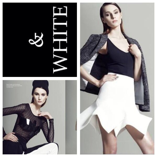Beautiful pictorial in on line magazine Rumours in Bucharest Romania featuring our beautiful white neoprene skirt and the see trough mesh top with plexiglass details paired with our black and white pants!
