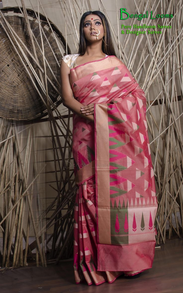 Pink Chanderi Cotton Banarasi Saree available for sale from Bengal Looms.