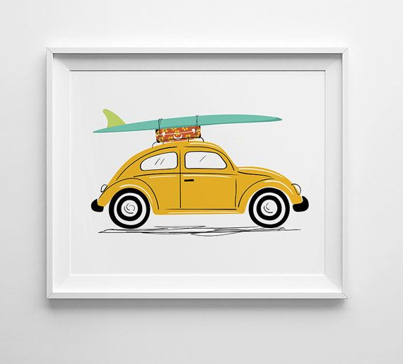 VW Beetle art print with surf boards by Lucy Loves Paper